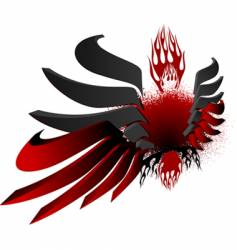 3d black red fire wings vector