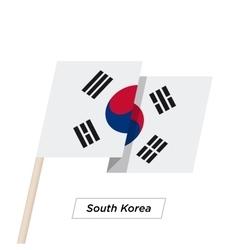 South korea ribbon waving flag isolated on white vector