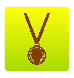 Medal simple sign  brown icon at green vector