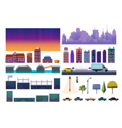 Night city game level kit collection for vector