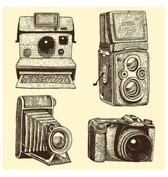 Set of instant vintage and modern photo camera vector