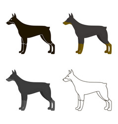 Doberman icon in cartoon style for web vector