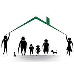 Family roof silhouettes of woman man children f vector