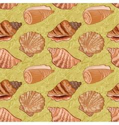 Seamless background seashells vector image