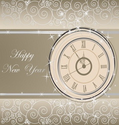 Happy new year background with clock vector