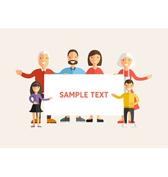 Happy family holding a banner flat design vector