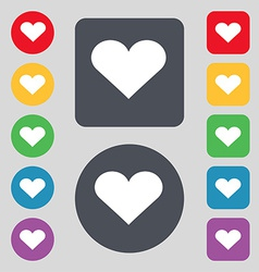 Heart love icon sign a set of 12 colored buttons vector