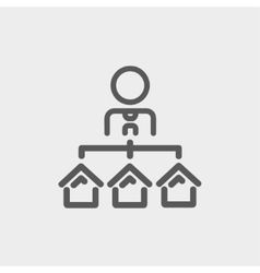 Agent with three houses for sale thin line icon vector