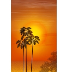 Summer night palm trees on the background of vector