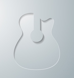 Guitar cut in white paper vector