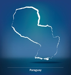 Doodle map of paraguay vector