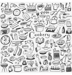 Cookery natural food - doodles set vector