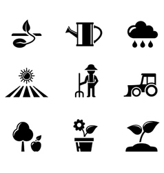 Agriculture black icons set vector