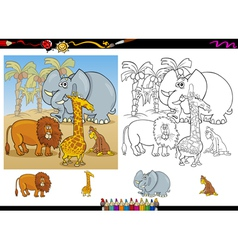african animals coloring page set vector image vector image