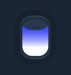 Airplane windows with cloudy blue sky outside vector