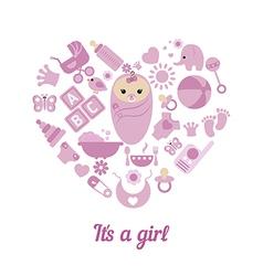 Baby girl shower background vector