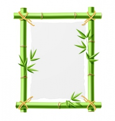 bamboo frame with blank paper vector image