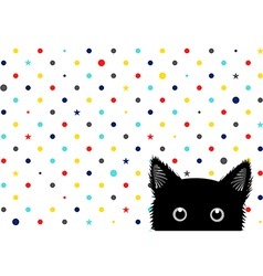 Black cat colorful dots star background vector