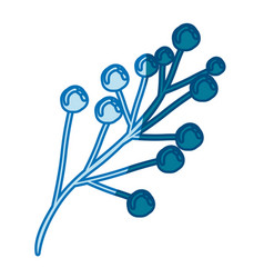 Blue silhouette of branch with floral buds vector