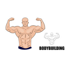 Bodybuilder strong muscular man vector