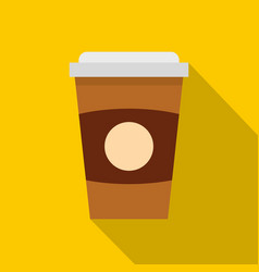 Brown paper coffee cup icon flat style vector