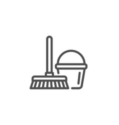 cleaning bucket with mop line icon vector image