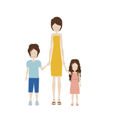 color silhouette with kids and mom with dress vector image