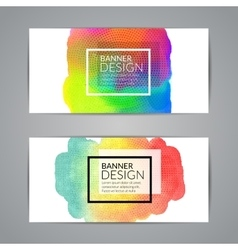 Colorful watercolor banners design elements vector image