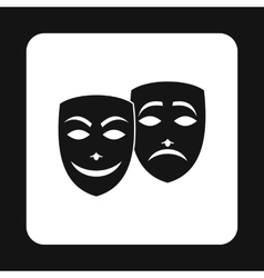 Comedy and tragedy theatrical masks icon vector image