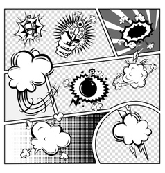 Comic book page monochrome template vector