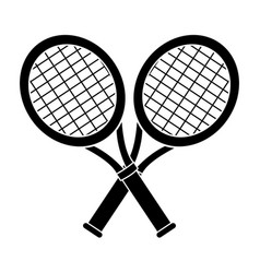 Contour racket and tennis ball icon vector