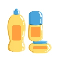 Cream shampoo and deodorant containers beauty vector