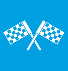 Crossed chequered flags icon white vector