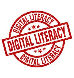 Digital literacy round red grunge stamp vector