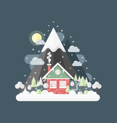 flat design nature winter landscape vector image