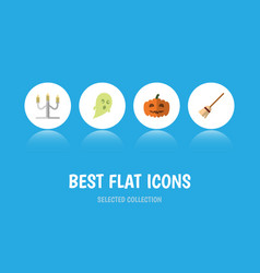 flat icon celebrate set of gourd broom phantom vector image vector image
