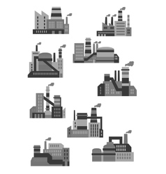 Flat plants and factories icons vector