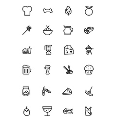Food outline icons 5 vector