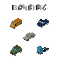 Isometric automobile set of autobus truck vector
