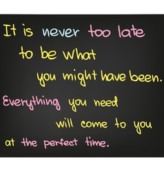 Its never too late vector image