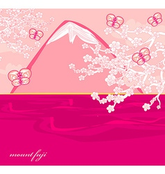 Japanese cherry tree to the background of the vector image