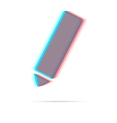 Pencil anagliph icon with shadow vector image vector image