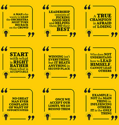 Set of motivational quotes about leadership vector