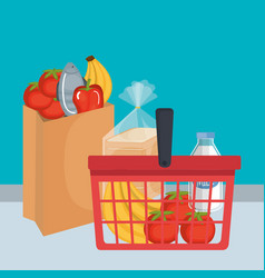 shopping basket with supermarket products vector image