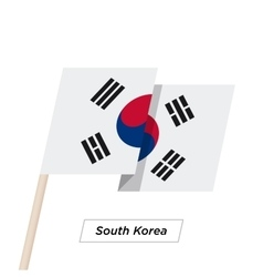 South korea ribbon waving flag isolated on white vector