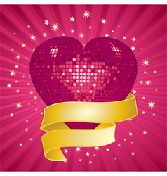 Sparkling pink valentine heart and banner vector