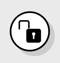 Unlock sign flat black icon vector