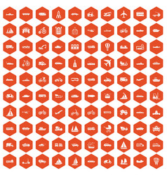 100 transportation icons hexagon orange vector