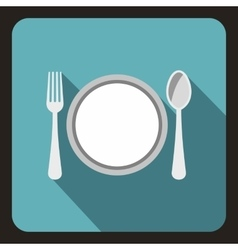 Plate with spoon and fork icon flat style vector