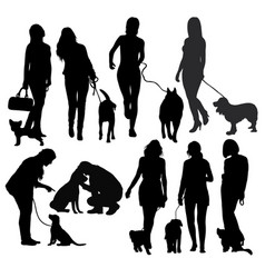 people silhouettes with dog vector image